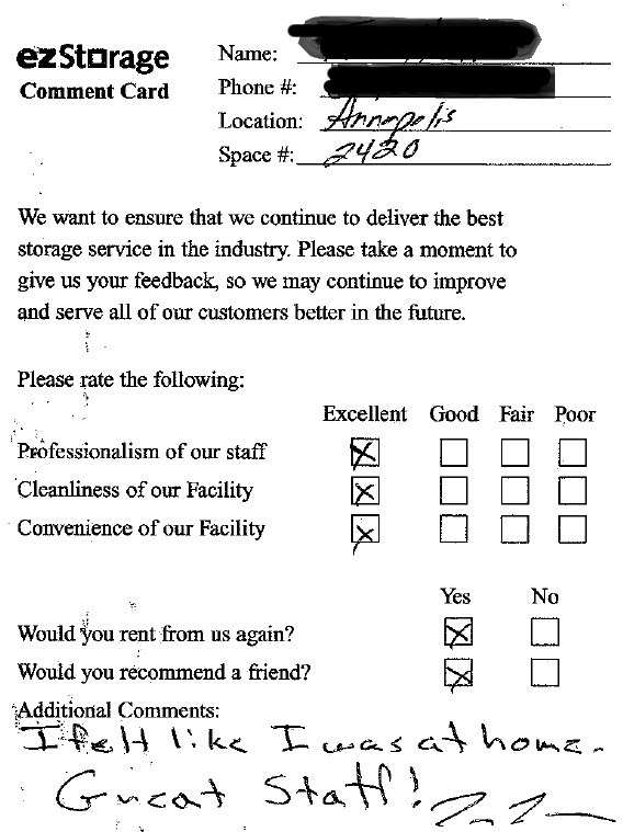 Feeling Right at Home at ezStorage – Customer Comment Card Template
